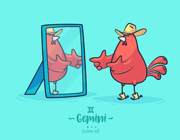 星座ジェミニ。おんどりと鏡。干支のグリーティングカードの背景ポスター。
