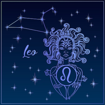 Zodiac sign leo a beautiful girl. the constellation of leo.