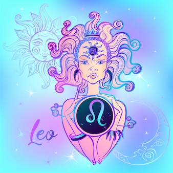 Zodiac sign leo a beautiful girl