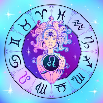 Zodiac sign leo a beautiful girl