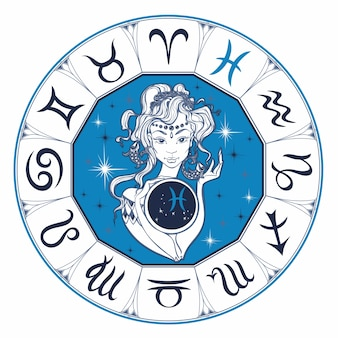 Zodiac sign pisces a beautiful girl. horoscope