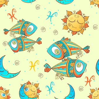 Zodiac sign pisces pattern