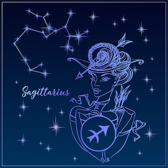 Zodiac sign sagittarius a beautiful girl.