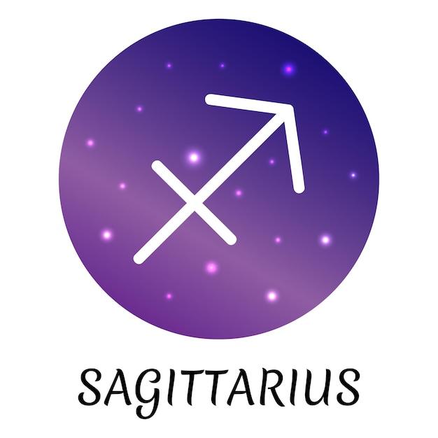 Знак зодиака стрелец изолированы векторный icon символ зодиака со звездным градиентным дизайном