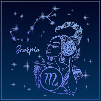 Zodiac sign scorpio as a beautiful girl.