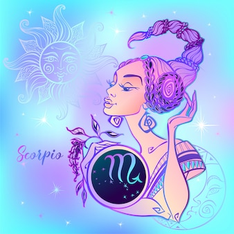 Zodiac sign scorpio a beautiful girl.