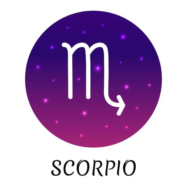 Знак зодиака скорпион изолированы векторный icon символ зодиака со звездным градиентным дизайном