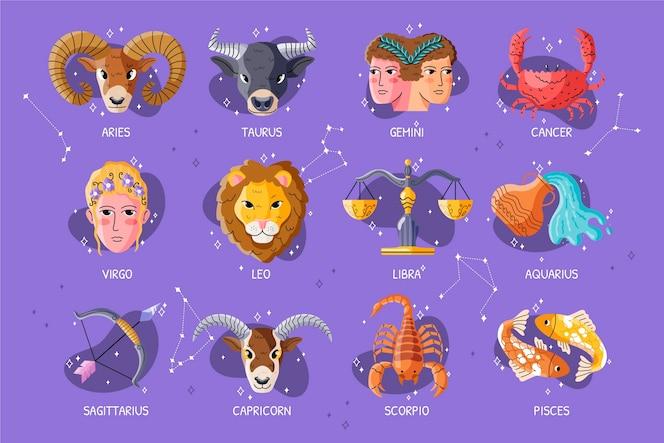 Zodiac sign set flat design