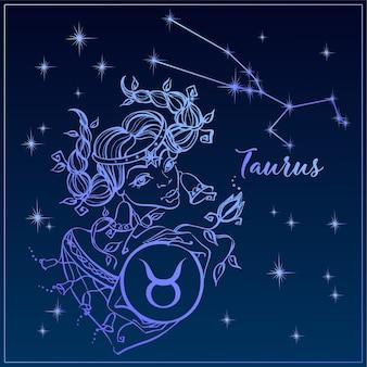 Zodiac sign Taurus as a beautiful girl. The Constellation Of Taurus.