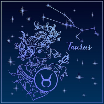 Zodiac sign taurus as a beautiful girl. the constellation of taurus.
