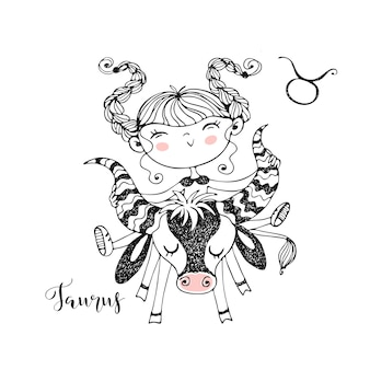 Zodiac sign taurus. funny children's horoscope in doodle style.