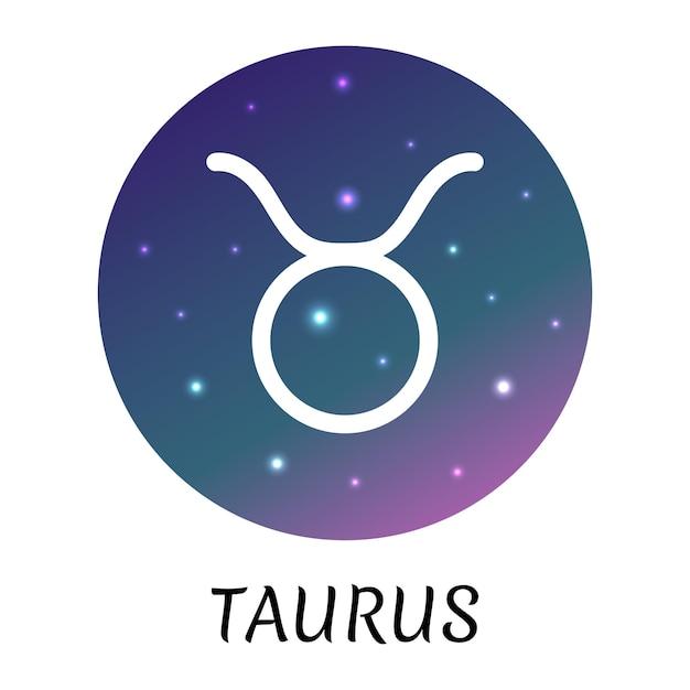 Знак зодиака телец изолированы векторный icon символ зодиака со звездным градиентным дизайном