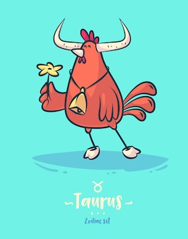 Zodiac sign taurus. rooster bell and flower. zodiac greeting card background poster.