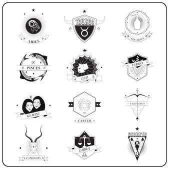 Zodiac sign in vintage badge style, vector illustration