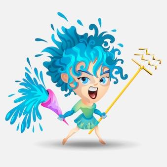 干支-みずがめ座。色のイラスト。水瓶座面白いかわいい漫画のキャラクター。水瓶座の女の子。白い背景で隔離されました。印刷デザイン、予測、星占い