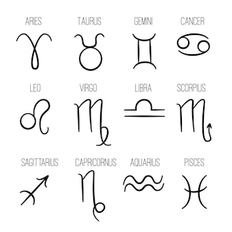 Zodiac signs. astrological hand drawn horoscope icons collection fishes virgo lion cancer aries gemini logos template