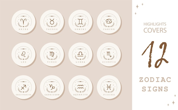 Zodiac signs in boho style. highlights stories covers for popular social media.