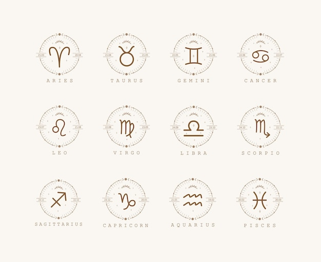 Zodiac signs in boho style