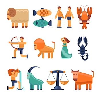 Zodiac signs in flat style. astrological icons cancer and libra, aquarius and taurus.   illustration