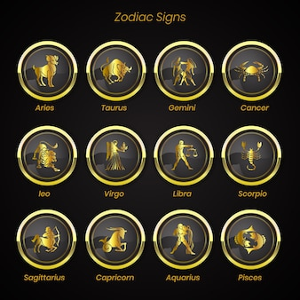 Zodiac signs set of horoscope symbols astrology collection