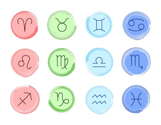 조디악 표지판입니다. 벡터 집합입니다. 네 가지 색상의 조디악 기호입니다. 점성술 요소 절연