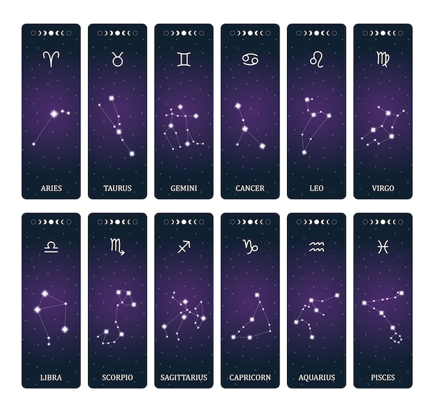 Zodiac signs with constellations on outer space