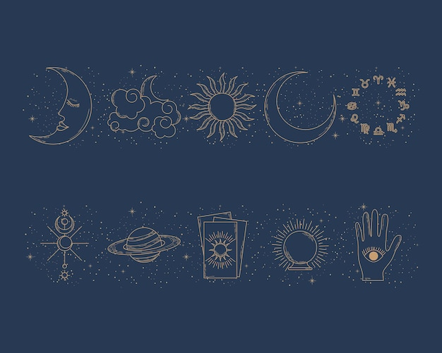 조디악 기호 및 점성술 세트