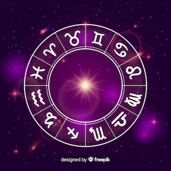 Zodiac wheel on space background