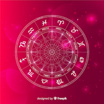 Zodiac wheel on space background