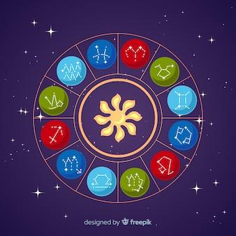 Zodiac wheel on a space background