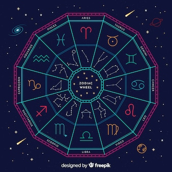 Zodiac wheel on a space background