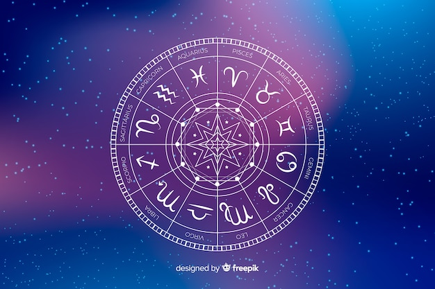 Zodiac wheel on a space background Premium Vector
