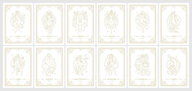 Zodiac women horoscope signs linear silhouettes design