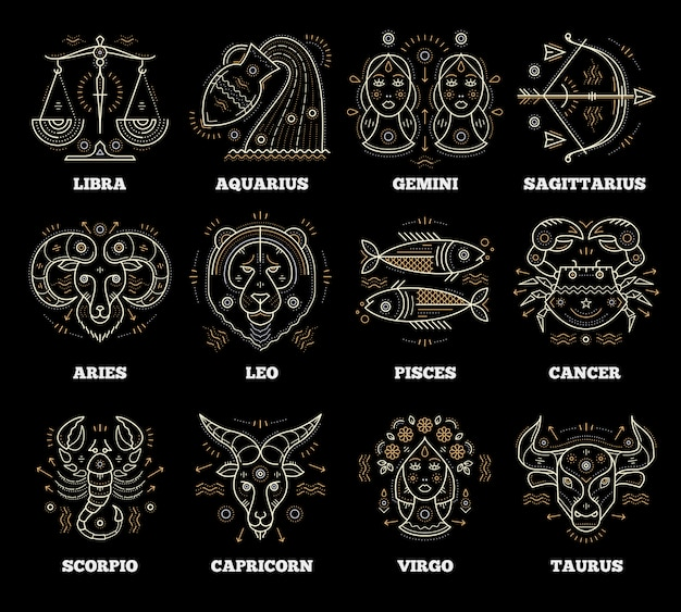 黄道帯および占星術のシンボル。グラフィック要素。