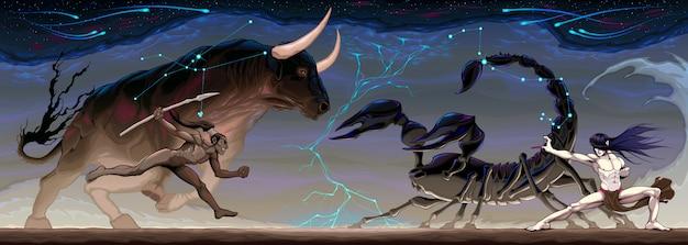 Зодиакальная битва между тельцом и скорпионом