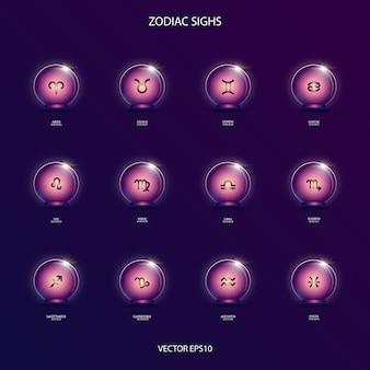 Zodiacal signs  in magic ball