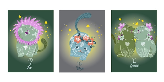 Zodiacs cards with cute cartoon cats characters
