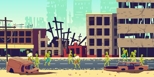 Zombie apocalypse in city cartoon illustration