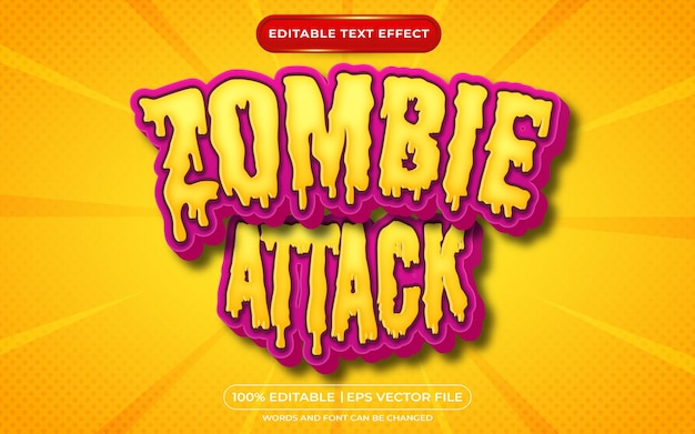 Zombie attack editable text effect halloween and scary text style