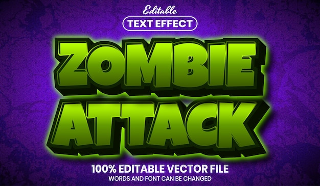 Zombie attack text, font style editable text effect