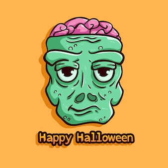 Zombie bad expression with happy halloween text on orange