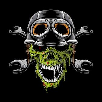 Testa di motociclista zombie isolata sul nero
