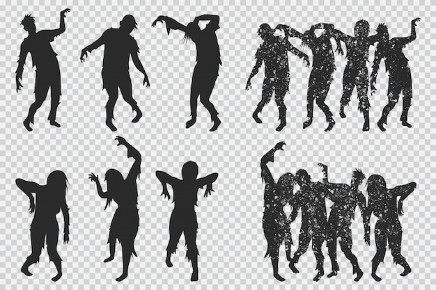 Zombie black silhouette. halloween icons set isolated