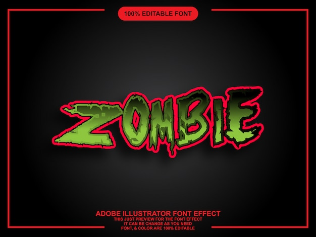 Zombie bold graphic style easy editable font