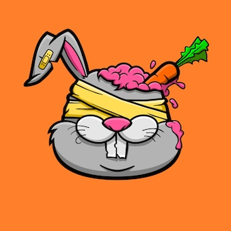 Zombie bunny with the carrot in his brain