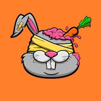 그의 두뇌에 당근 좀비 토끼