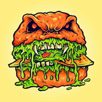 Zombie burger melt vector illustrations for your work logo, mascot merchandise t-shirt, stickers and label designs, poster, greeting cards advertising business company or brands.