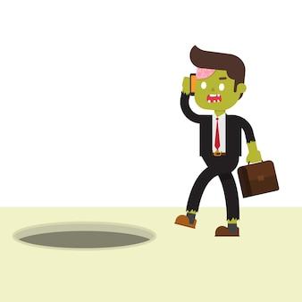 Zombie businessman didnt aware of his surrounding