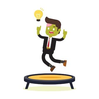 トランポリンにジャンプするゾンビのビジネスマン