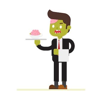 Обитель бизнесмен-зомби с чашкой мозгов